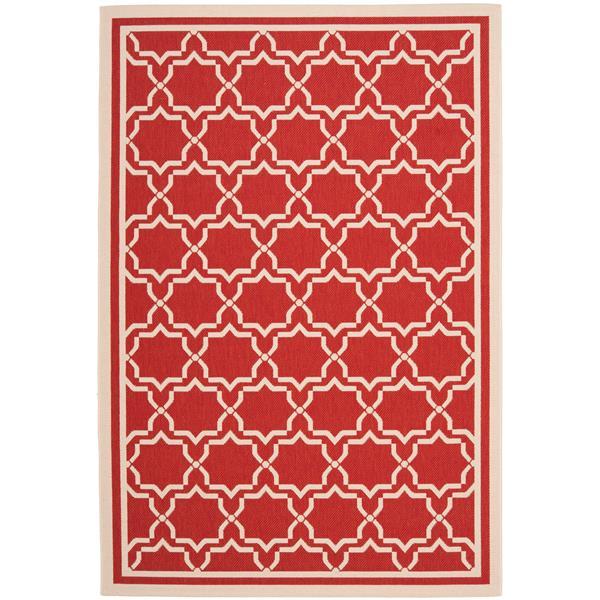 Safavieh Courtyard Rug - 5.3' x 7.6' - Polypropylene - Red/Ivory