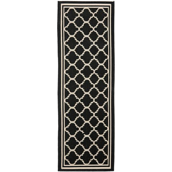 Safavieh Courtyard Rug - 2.3' x 6.6' - Polypropylene - Black/Beige