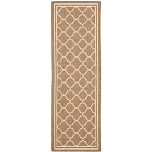 Safavieh Courtyard Rug - 2.3' x 16' - Polypropylene - Brown/Ivory