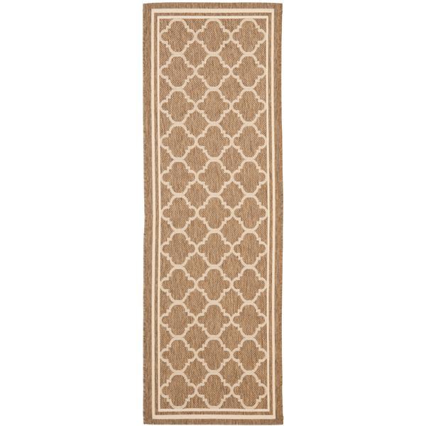 Safavieh Courtyard Rug - 2.3' x 18' - Polypropylene - Brown/Ivory