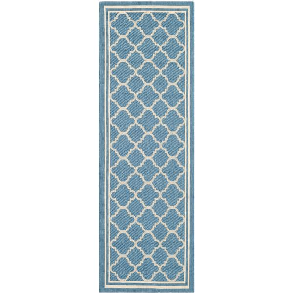 Safavieh Courtyard Rug - 2.3' x 6.6' - Polypropylene - Blue/Beige