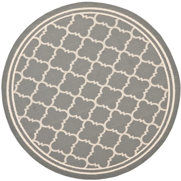 Safavieh Courtyard Rug - 5.3' x 5.3' - Polypropylene - Anthracite