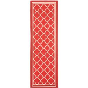 Safavieh Courtyard Rug - 2.3' x 12' - Polypropylene - Red/Ivory