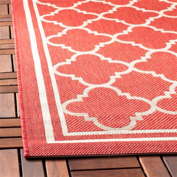Safavieh Courtyard Rug - 2.3' x 14' - Polypropylene - Red/Ivory