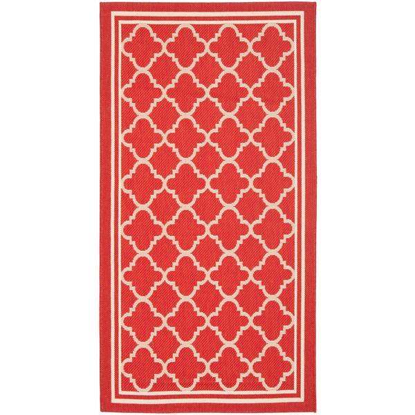 Safavieh Courtyard Rug - 2.6' x 5' - Polypropylene - Red/Ivory