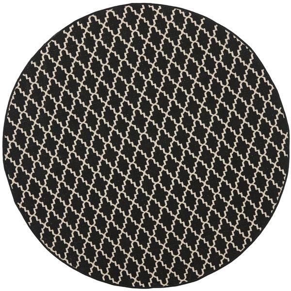 Safavieh Courtyard Rug - 5.3' x 5.3' - Polypropylene - Black/Beige