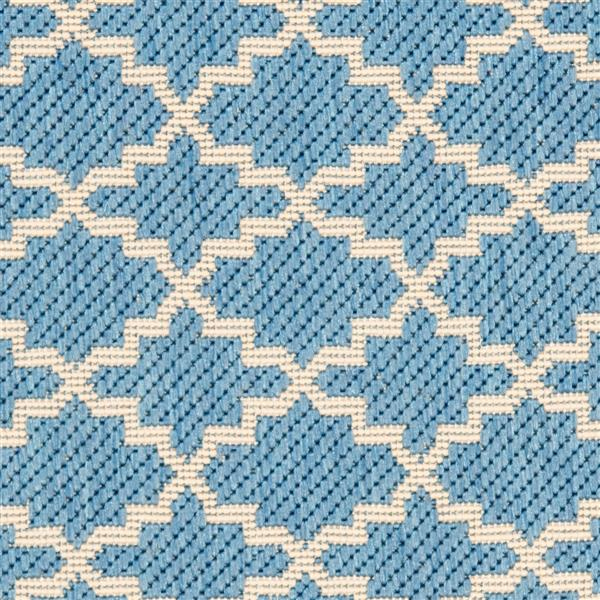 Safavieh Courtyard Rug - 2.3' x 18' - Polypropylene - Blue/Beige