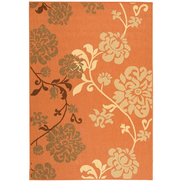 Safavieh Courtyard Rug - 6.6' x 9.5' - Polypropylene - Orange/Brown