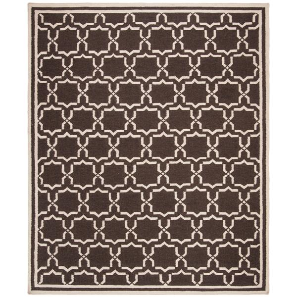 Safavieh Dhurries Rug - 9' x 12' - Wool - Chocolate/Ivory