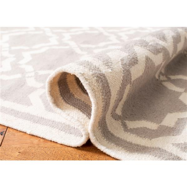 Safavieh Dhurries Rug - 9' x 12' - Wool - Gray/Ivory