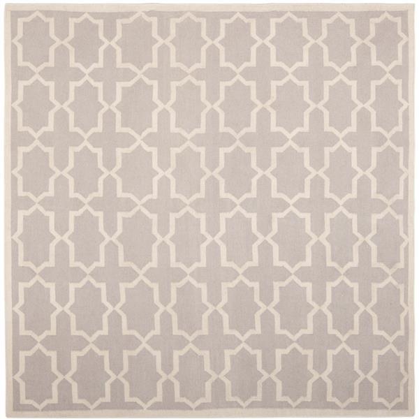 Safavieh Dhurries Rug - 8' x 8' - Wool - Gray/Ivory