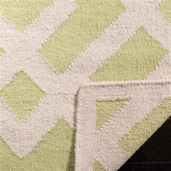 Safavieh Dhurries Rug - 9' x 12' - Wool - Light Green/Ivory
