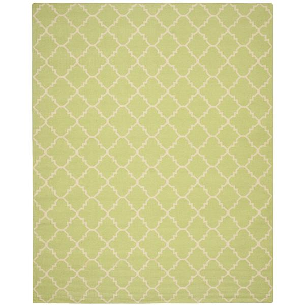 Safavieh Dhurries Rug - 9' x 12' - Wool - Light Green/Ivory