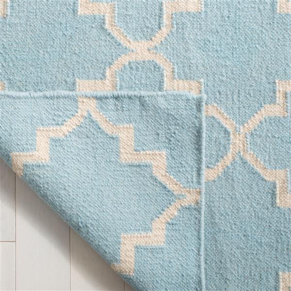 Safavieh Dhurries Rug - 9' x 12' - Wool - Light Blue/Ivory