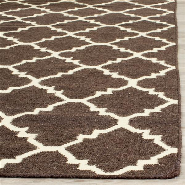 Safavieh Dhurries Rug - 9' x 12' - Wool - Brown/Ivory
