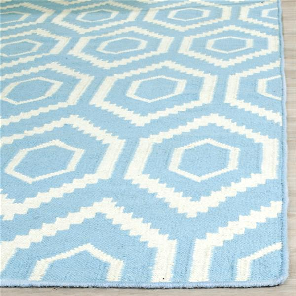 Safavieh Dhurries Rug - 8' x 8' - Wool - Blue/Ivory