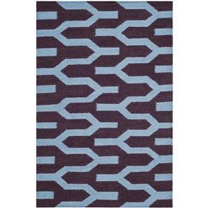 Dhurries Rug - 3' x 5' - Wool - Purple/Blue
