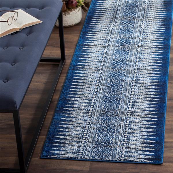 Safavieh Evoke Rug - 2.2' x 11' - Polypropylene - Royal Blue/Ivory