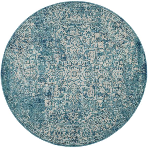 Safavieh Evoke Rug - 5.1' x 5.1' - Polypropylene - Blue/Ivory
