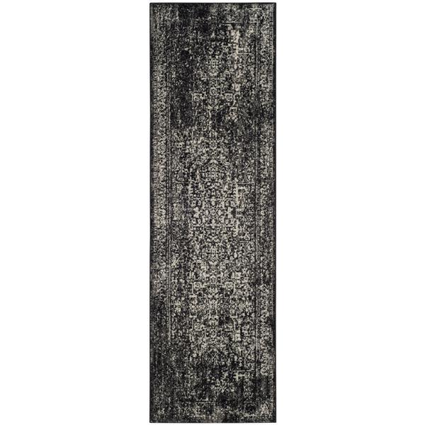 Safavieh Evoke Rug - 2.2' x 13' - Polypropylene - Black/Gray