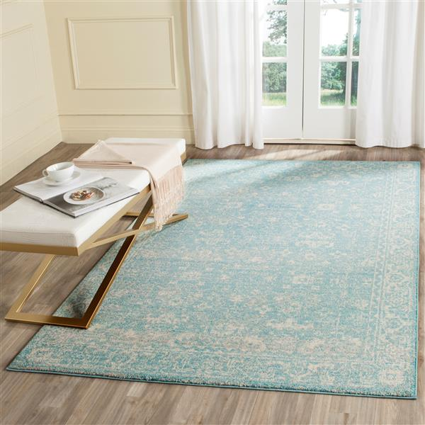 Safavieh Evoke Rug - 5.1' x 5.1' - Polypropylene - Light Blue/Ivory