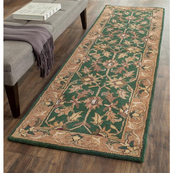 Safavieh Heritage Rug - 2.3' x 8' - Wool - Dark Green/Gold
