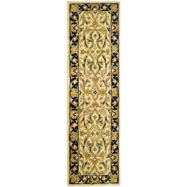 Safavieh Heritage Rug - 2.3' x 8' - Wool - Ivory/Black