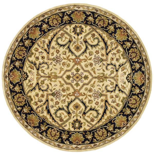 Safavieh Heritage Rug - 3.5' x 3.5' - Wool - Ivory/Black
