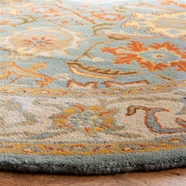 Safavieh Heritage Rug - 4' x 4' - Wool - Light Blue/Ivory