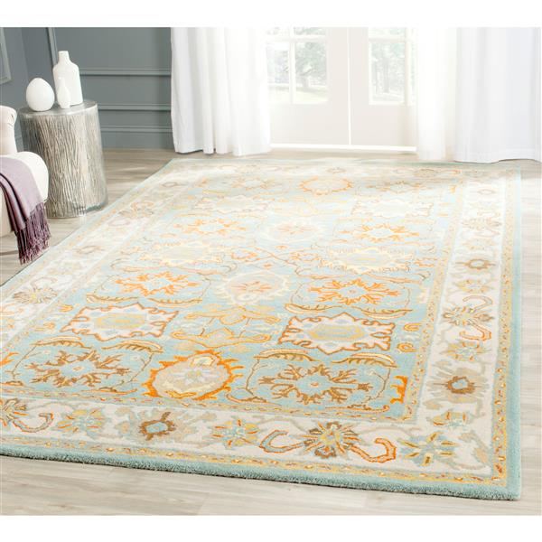 Safavieh Heritage Rug - 2.5' x 4' - Wool - Light Blue/Ivory