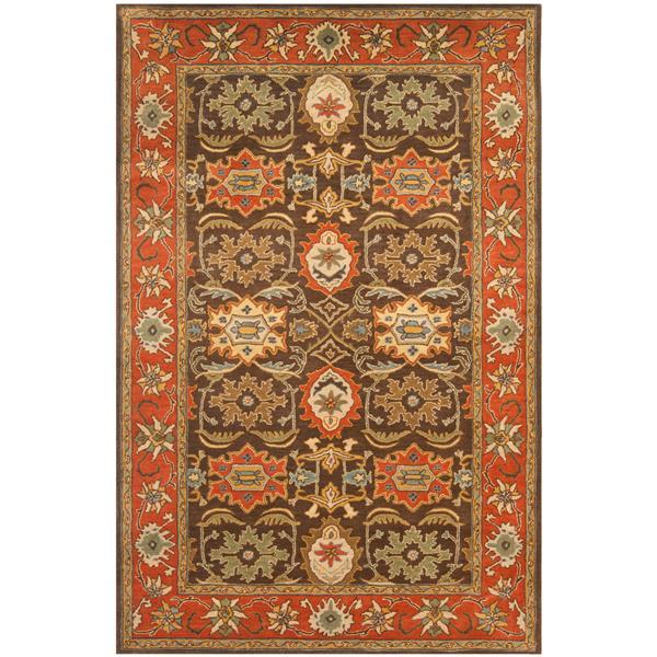 Safavieh Heritage Rug - 3' x 5' - Wool - Chocolate/Tangerine