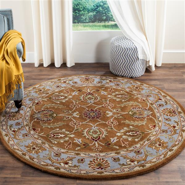 Safavieh Heritage Rug - 3.5' x 3.5' - Wool - Brown/Blue