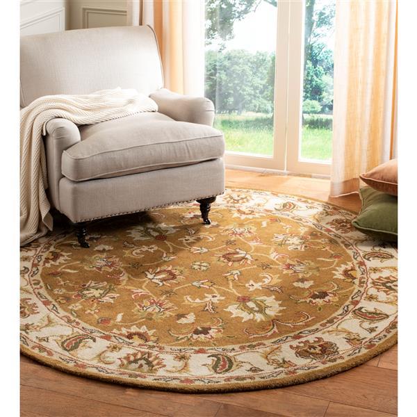 Safavieh Heritage Rug - 3.5' x 3.5' - Wool - Mocha/Ivory