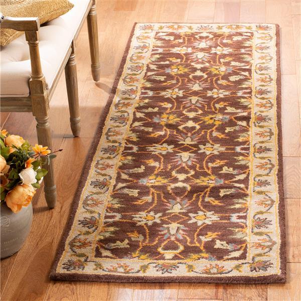 Safavieh Heritage Rug - 2.3' x 8' - Wool - Brown/Ivory