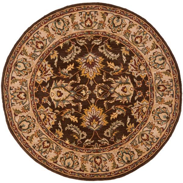Safavieh Heritage Rug - 3.5' x 3.5' - Wool - Brown/Ivory