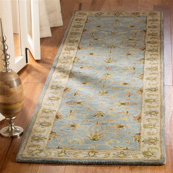 Safavieh Heritage Rug - 2.3' x 8' - Wool - Light Blue/Beige