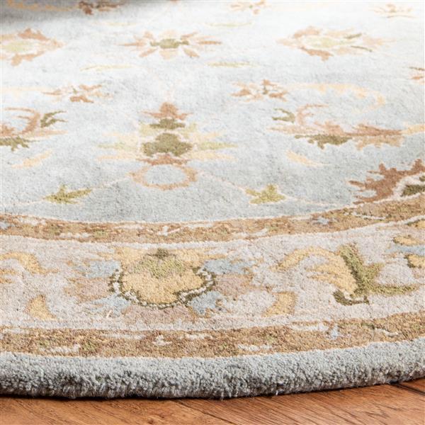 Safavieh Heritage Rug - 3.5' x 3.5' - Wool - Light Blue/Beige