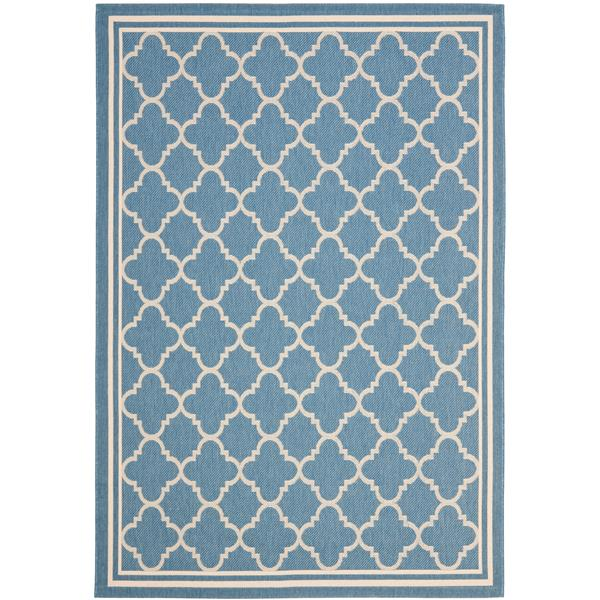 Safavieh Courtyard Rug - 8.9' x 12' - Polypropylene - Blue/Beige