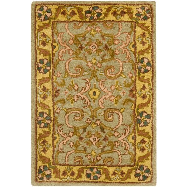 Safavieh Heritage Floral Rug - 3' x 5' - Wool - Gray/Gold