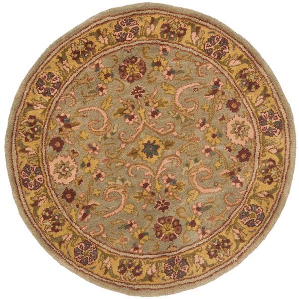 Safavieh Heritage Floral Rug - 3.5' x 3.5' - Wool - Gray/Gold