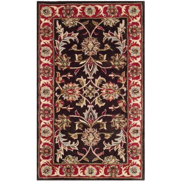 Safavieh Heritage Floral Rug - 3' x 5' - Wool - Chocolate/Red