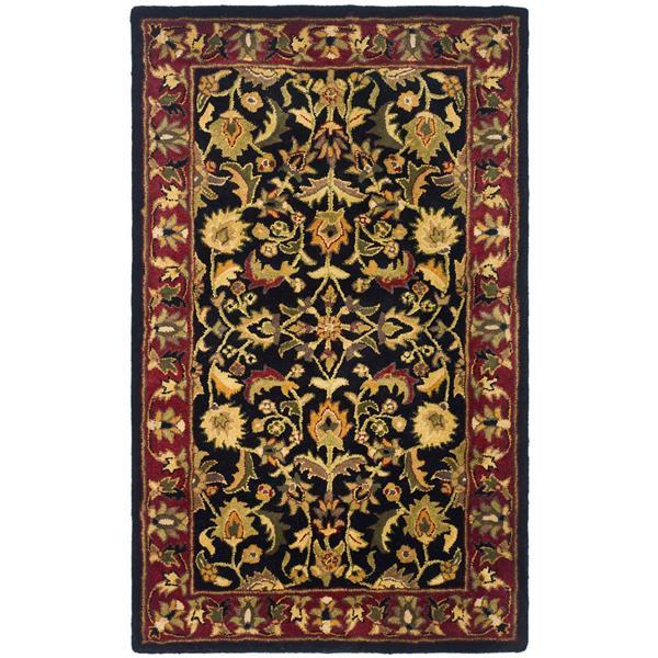 Safavieh Heritage Floral Rug - 3' x 5' - Wool - Black/Red