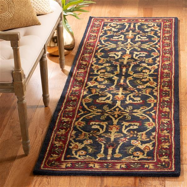 Safavieh Heritage Floral Rug - 2.3' x 8' - Wool - Black/Red