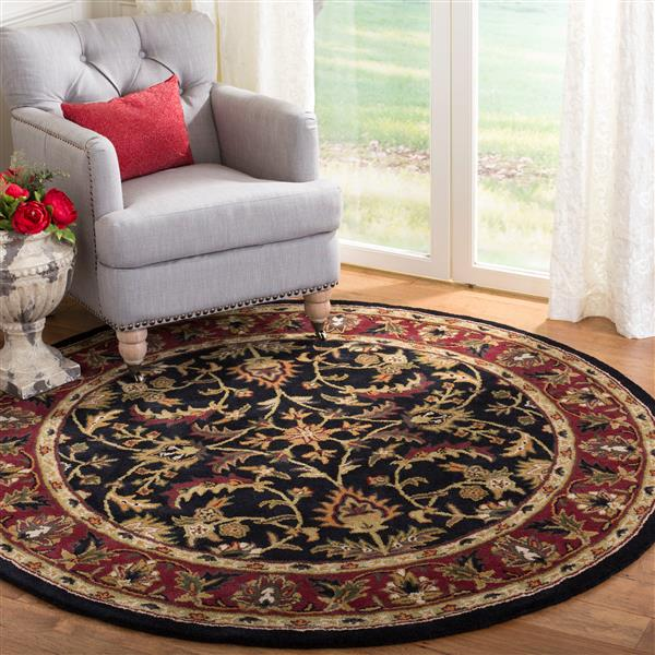 Safavieh Heritage Floral Rug - 3.5' x 3.5' - Wool - Black/Red