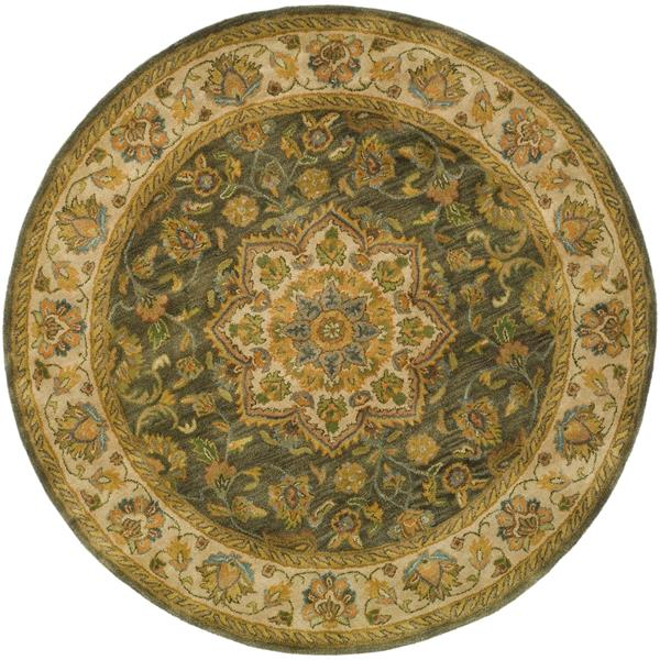 Safavieh Heritage Floral Rug - 3.5' x 3.5' - Wool - Green/Taupe