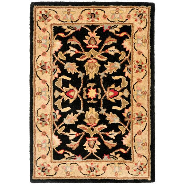 Safavieh Heritage Floral Rug - 2' x 3' - Wool - Black/Beige