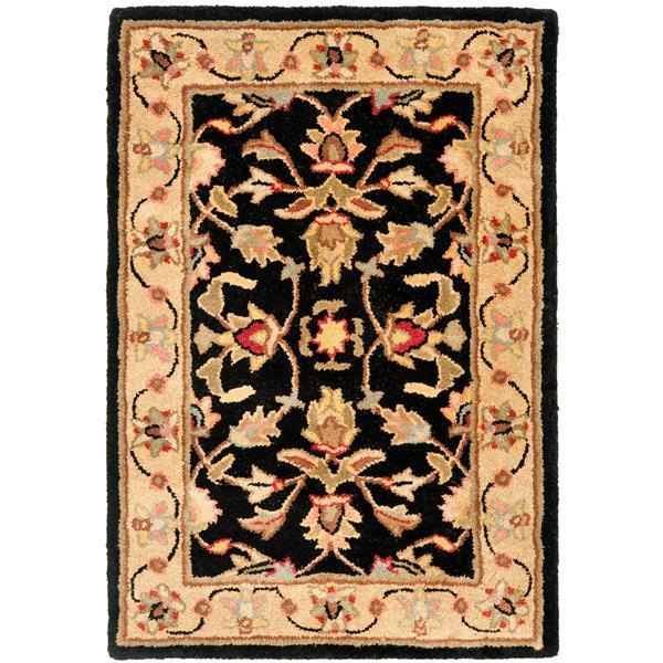 Safavieh Heritage Floral Rug - 3' x 5' - Wool - Black/Beige