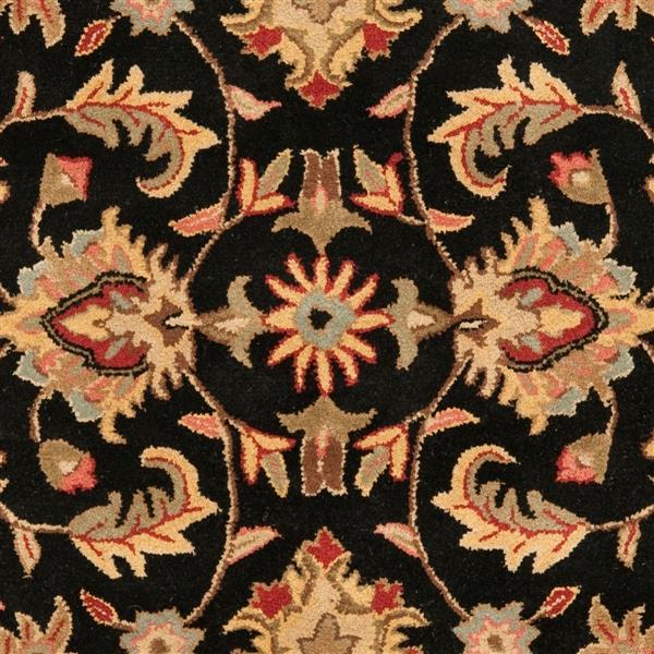 Safavieh Heritage Floral Rug - 3.5' x 3.5' - Wool - Black/Beige