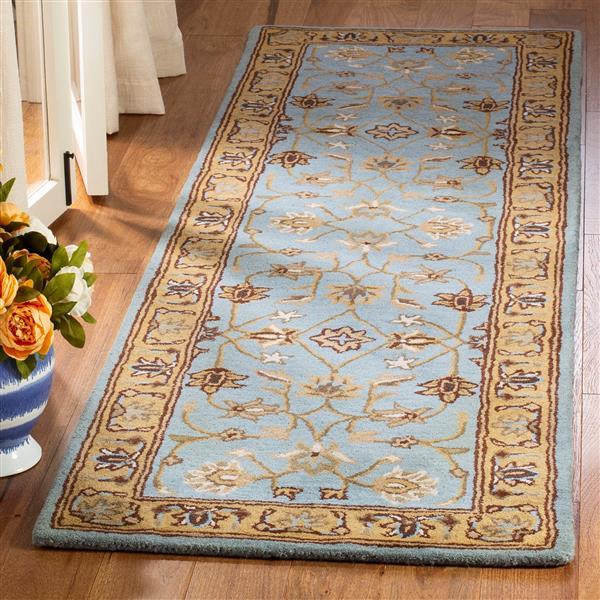 Safavieh Heritage Floral Rug - 2.3' x 8' - Wool - Blue/Gold
