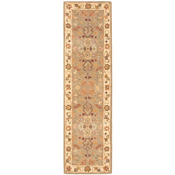 Safavieh Heritage Floral Rug - 2.3' x 8' - Wool - Light Green/Beige